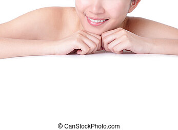 Young woman mouth close up