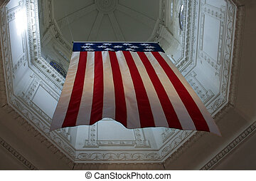 Thirteen Colonies Flag - Thirteen colonies flag hanging in...