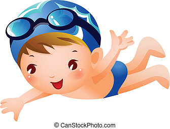 Boy Swimmer - A boy is swimming wearing blue swimming...
