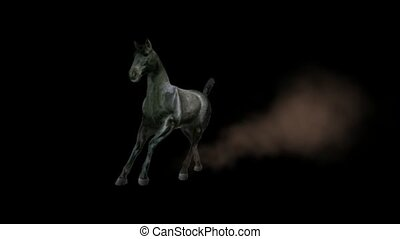 horse running with dust.
