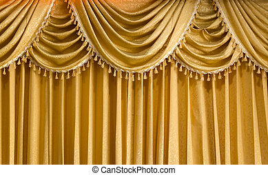 Light Gold fabric Curtain for web page background