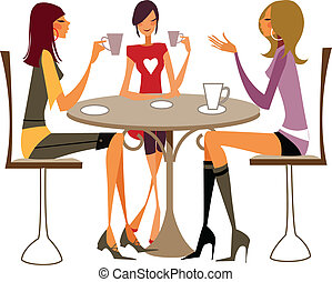 close-up of women sitting on chair - There are three girl...