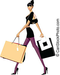 Woman shopping - There is a girl carrying few shopping bags....