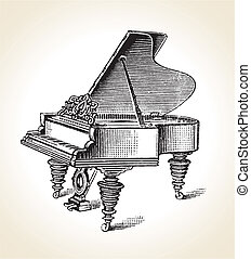 Vintage Grand Piano - Vector retro Vintage Grand Piano eps