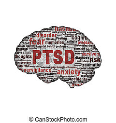 PTSD symbol design isolated on white background. Anxiety...