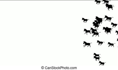 a group of horses silhouette running