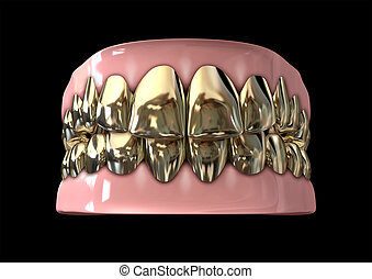 Golden Gangster Teeth And Gums - A closed set of golden...