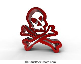 3d illustration of a skull in red metal on white background