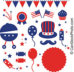 Independence day icons isolated on white - 4th july icons...