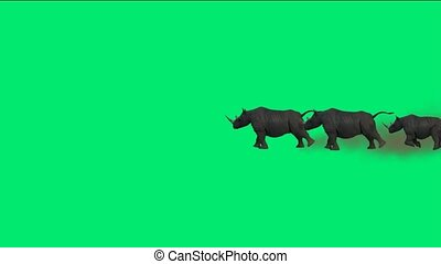 rhino running with green background.