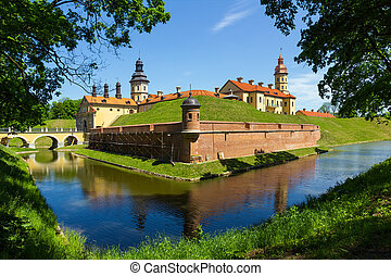 Medieval castle in Niasvizh, Belarus. - Medieval castle and...