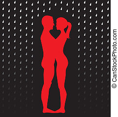 silhouette of young couple standing in the rain - illustration