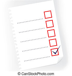 Close up of checkbox notepad paper - illustration