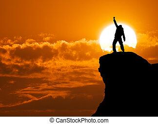homem, topo, montanha