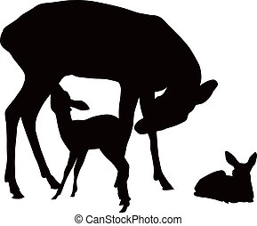 Deer family - Vector black and white illustration of deer...