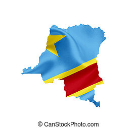Map of Democratic Republic of Congo with waving flag...