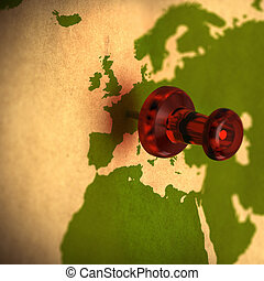 western europe and africa on a world map with red thumbtack...