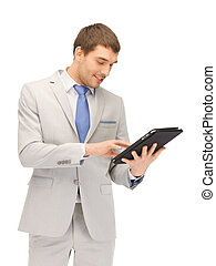 happy man with tablet pc computer - picture of happy man...
