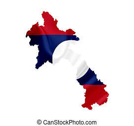 Map of Laos with waving flag isolated on white