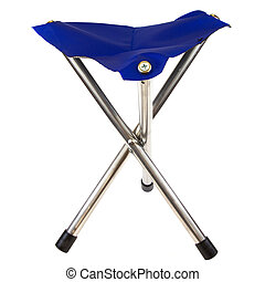 Camping Chair - Blue camping chair isolated on a white...