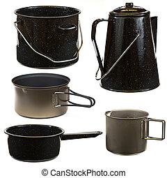 Cookware Set - Set of cookware isolated on a white...