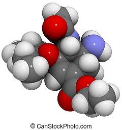 Oseltamivir: molecular structure (3D) - 3D molecular...