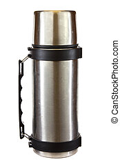 Thermos - Stainless steel thermos isolated on a white...