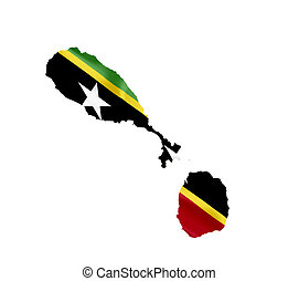 Map of Saint Kitts and Nevis with waving flag isolated on white