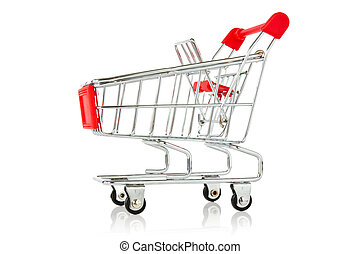 empty shopping cart with reflection on white background