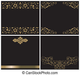 Ornaments gold on black