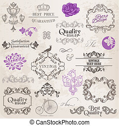 Vector Set: Calligraphic Design Elements and Page Decoration, Vintage Frame collection with Flowers