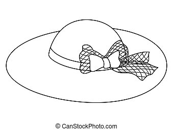 Female hat with a bow, contours - Cap: a female hat with a...