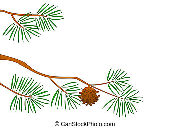 Fur-tree branch - Branch of a tree of a pine with green...