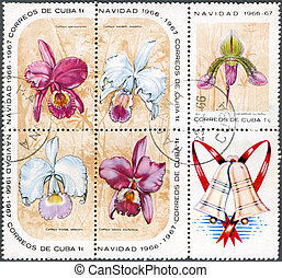 CUBA - 1966: shows christmas block with orchids