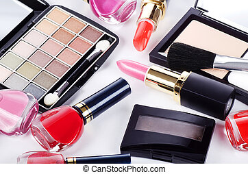 Assortment of cosmetic means for a decorative make-up -...