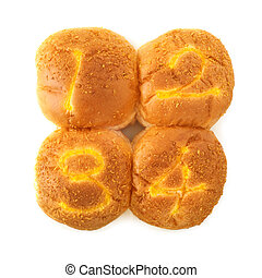 Round buns with numerals