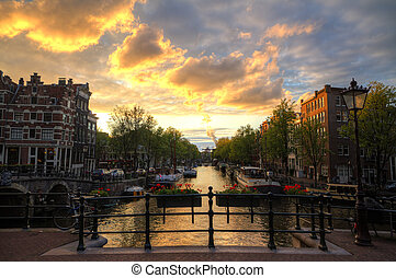 Amsterdam bridge sunset hdr