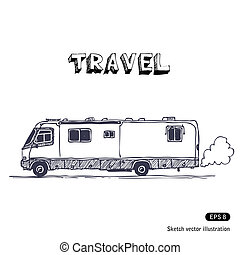 Camper Hand drawn vector isolated on white