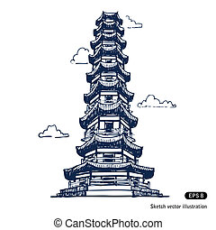 Chinese pagoda. Hand drawn vector isolated on white