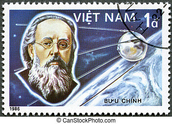VIETNAM - CIRCA 1986: A stamp printed in the Vietnam shows Konstantin Tsiolkovsky, 1st Manned Space Flight, 25th Anniversary, circa 1986