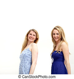 Two Pretty young women smiling at the camera