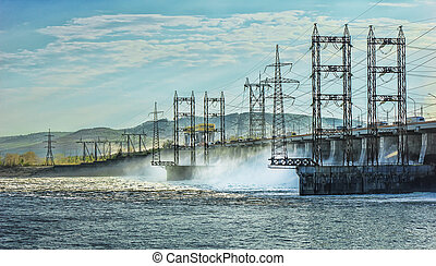 Spring water discharge at the hydropower plant on the Volga...