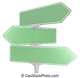 Street signs X 3. - Blank directional road signs X 3. Green...