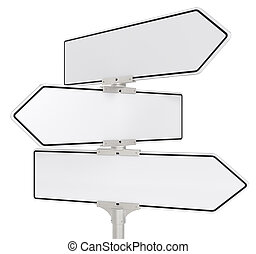 Road signs X 3. - Blank directional road signs X 3. White...