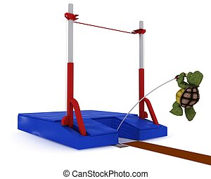 tortoise competing in pole vault - 3D render of a tortoise...