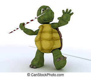 tortoise competing in javelin