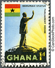 GHANA - CIRCA 1959: A stamp printed in Ghana shows a Statue...