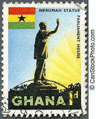 GHANA - CIRCA 1959: A stamp printed in Ghana shows a Statue...