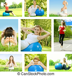 Fitness woman collection - Healthy lifestyle fitness woman...