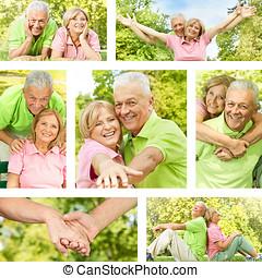 senior couple  - Happy senior couple outdoor collection.